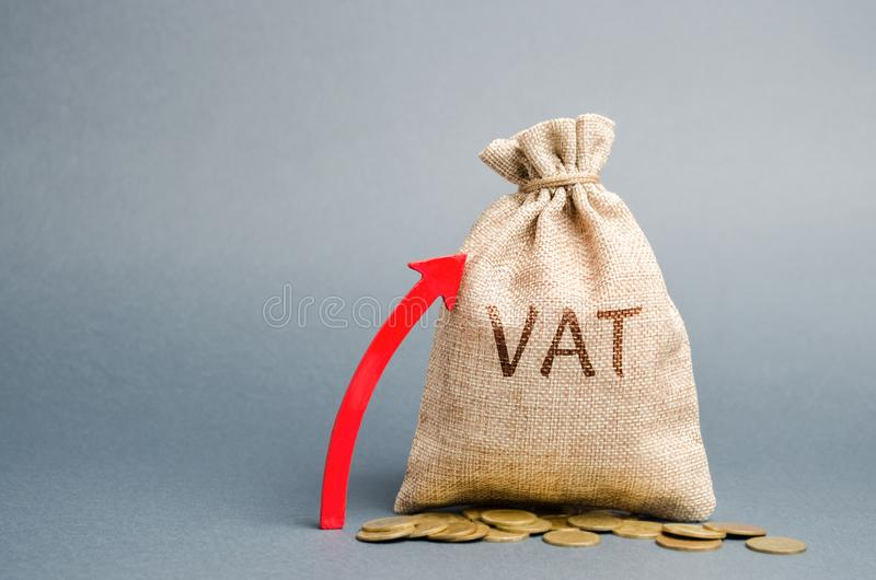 Money bag and red up arrow. The concept of increasing VAT tax. Tax burden on business consumers. VAT refund and double taxation. Obstruction. Value-added taxes royalty free stock image