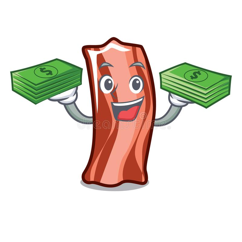 With money bag ribs mascot cartoon style. Vector illustration stock illustration