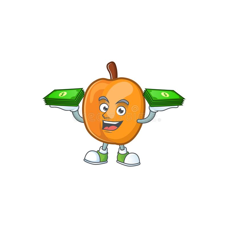 With money bag ripe apricot character mascot of cartoon. Vector illustration royalty free illustration