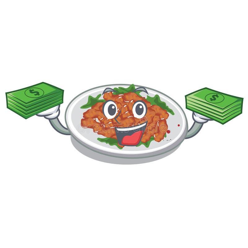 With money bag sesame chicken in a cartoon bowl. Vector illustration vector illustration