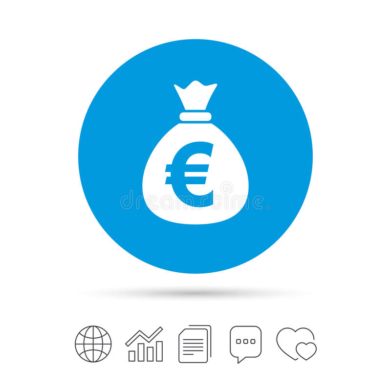 Money bag sign icon. Euro EUR currency. stock illustration