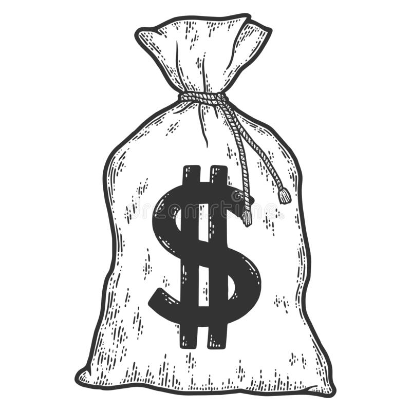 Free Money Bag. Sketch Scratch Board Imitation. Black And White. Royalty Free Stock Photography - 217373987