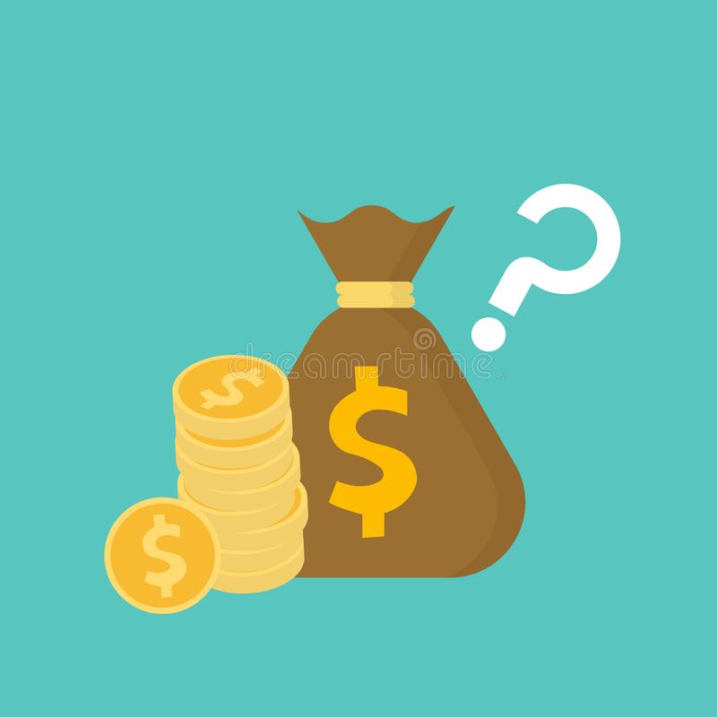Money bag and stack of dollar coins with question mark. Income concept stock illustration