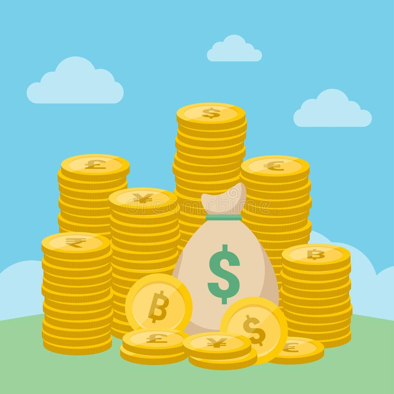 Money bag and stacks of gold coins - Vector. Money bag and stacks of gold coins on blue sky background vector illustration