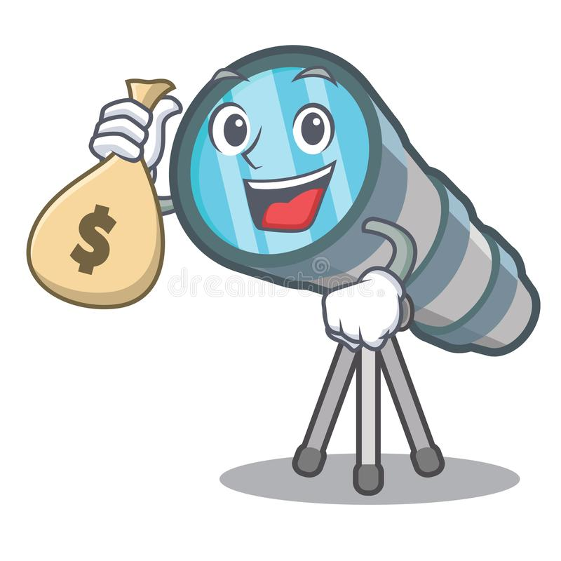 With money bag telescope isolated with in the mascot. Vector illustration vector illustration