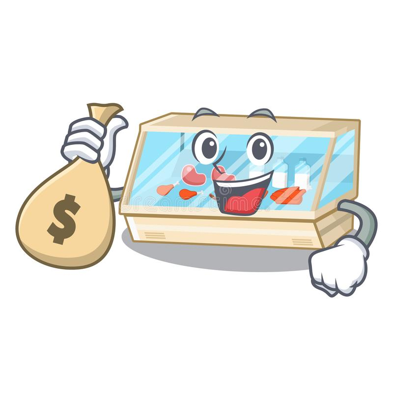 With money bag trade counter in the mascot shape. Vector illustration royalty free illustration