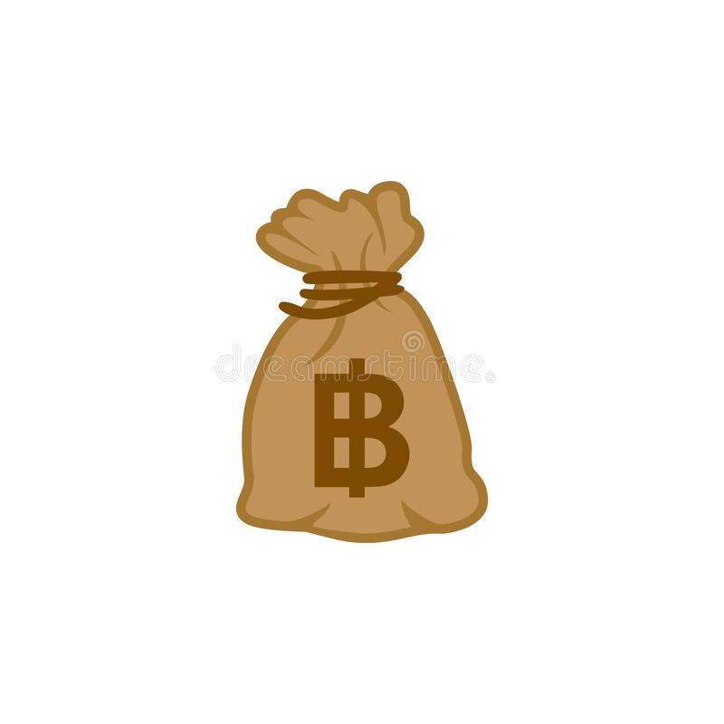 Money bag icon vector of world top currency Baht Thailand. royalty free illustration