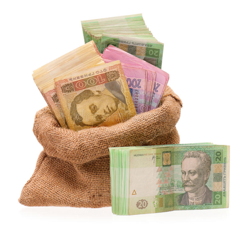 Free Money Bag With Hryvna Royalty Free Stock Photo - 36960455