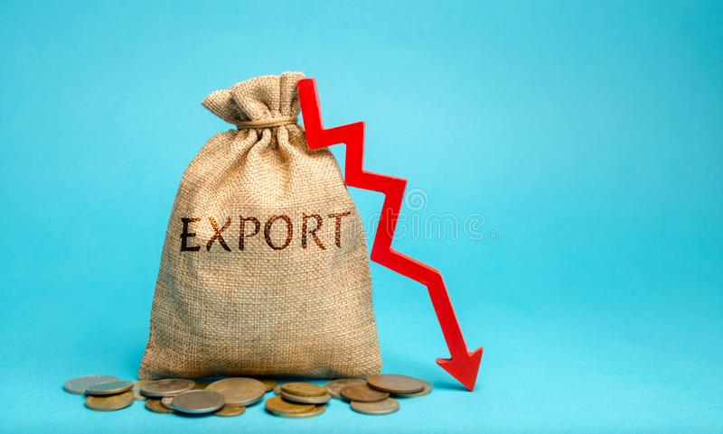 Money bag with the word Export and down arrow. Decrease in export volumes. High competition. Logistics problems and lack of. Transport. Low demand for goods and royalty free stock image