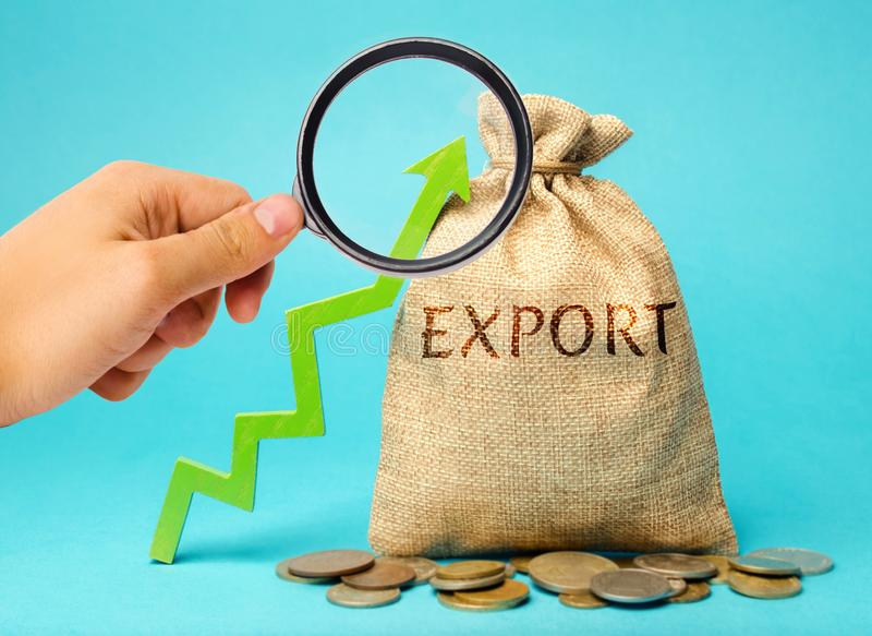 Money bag with the word Export and up arrow. Increased export potential. Growth of business indicators and high demand for. Products manufactured in the country royalty free stock image