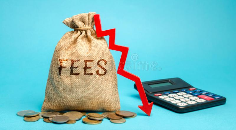 Money bag with the word Fees and arrow down. The concept of reducing duties on the import or export of goods and services. royalty free stock photos