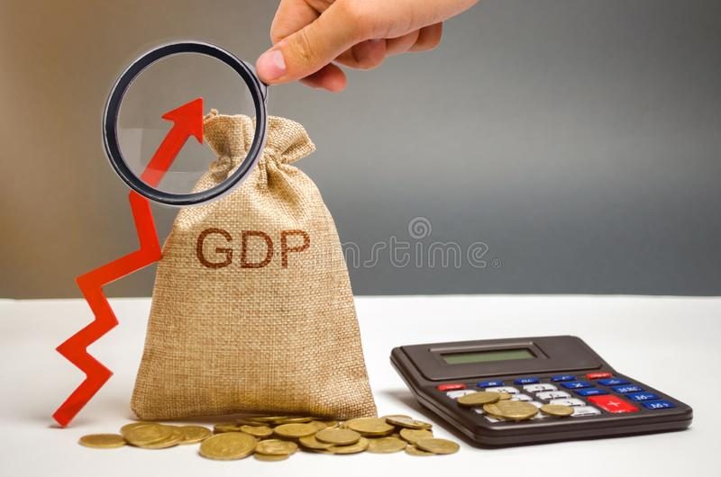 Money bag with the word GDP and up arrow. Technological progress, increasing the level of workers, improving the allocation of. Resources, improving the royalty free stock images