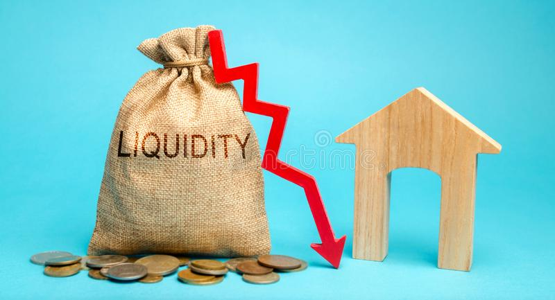 Money bag with the word Liquidity, down arrow and house. Unprofitable investment in real estate. High taxation. Low demand. royalty free stock images
