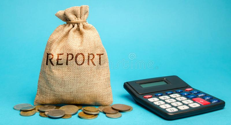 Money bag with the word Report and calculator. Business Financial Reporting Concept. Evaluation of the financial position. Audit. stock photos
