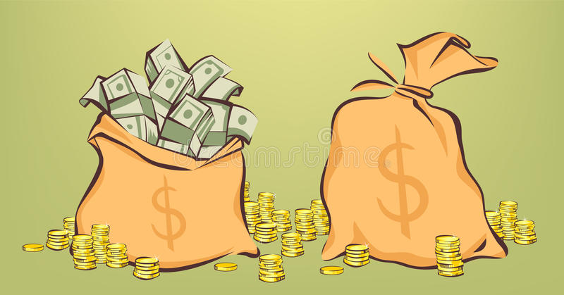 Money bags with bunches of dollars, coins stacks beside, opened and closed pouches, cartoon style, isolated vector illustration.  royalty free illustration