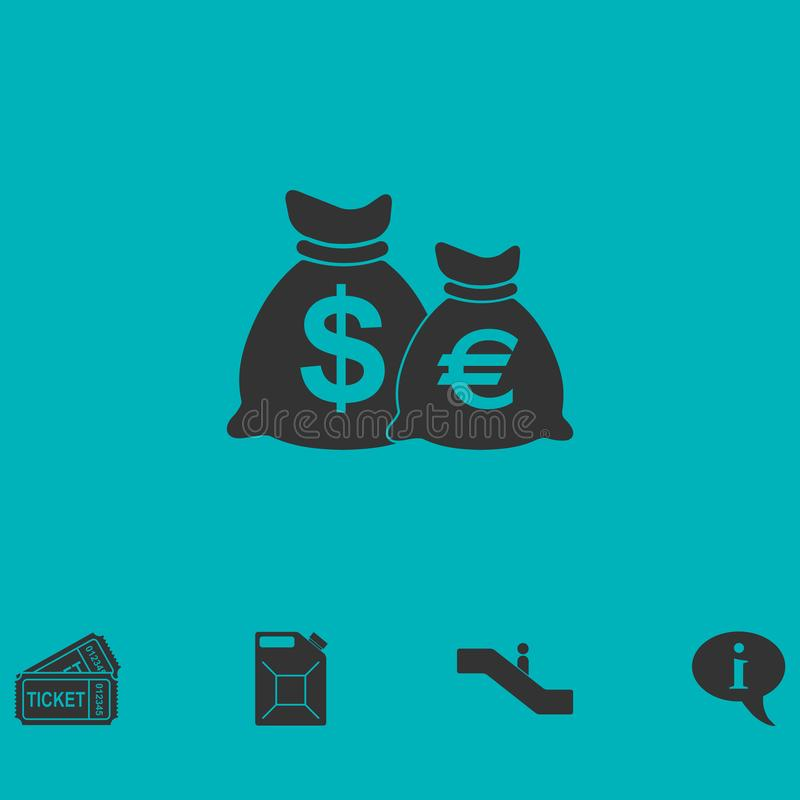 Money Bags with currency symbols icon flat royalty free illustration