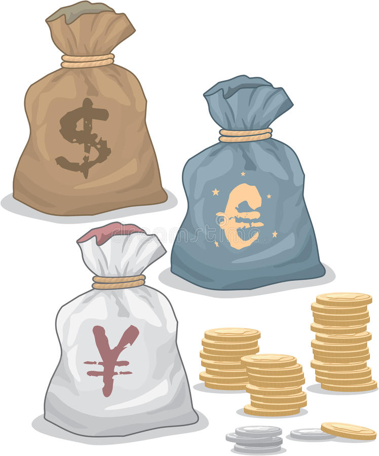 Download Money Bags With Different Currency Stock Vector - Image: 22972885