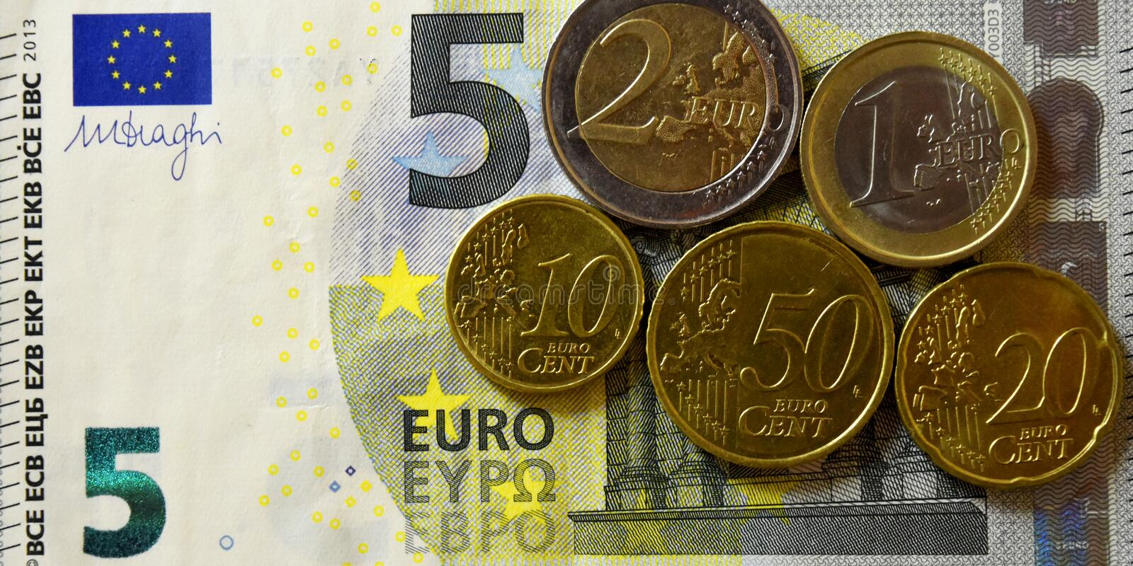 Money, Banknote, Bills, USD, Euro, Coins, Penny, Dime, Quarter. Colorful background of Money, Banknote, Bills, USD, Euro and coins stock photography