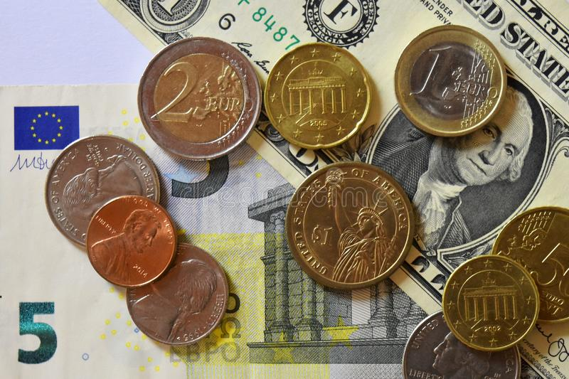 Money, Banknote, Bills, USD, Euro, Coins, Penny, Dime, Quarter. Colorful background of Money, Banknote, Bills, USD, Euro and coins royalty free stock image