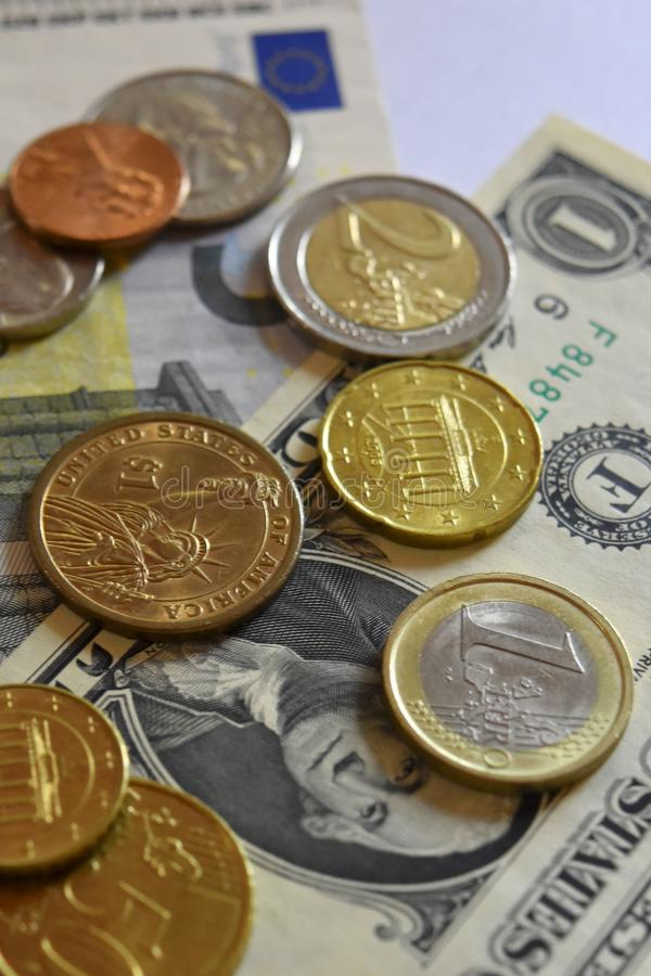 Money, Banknote, Bills, USD, Euro, Coins, Penny, Dime, Quarter. Colorful background of Money, Banknote, Bills, USD, Euro and coins royalty free stock photography