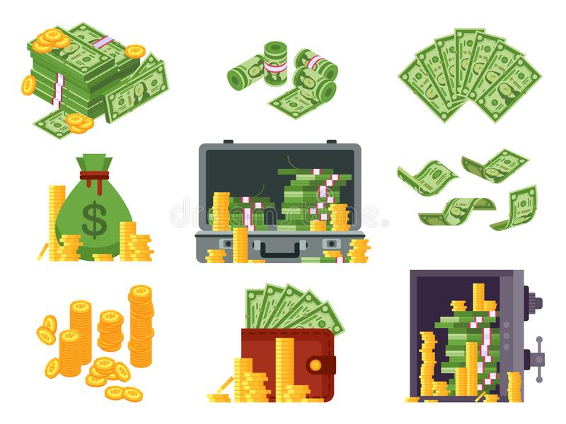 Money banknote. Cash bag, banknotes wallet and dollars heap in safe. Lots dollar piles and gold coins isometric vector royalty free illustration