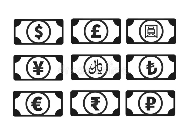 Money banknotes with common currency signs like us dollar, pound, yen, yuan, ruble, euro, rupee, rial, lira isolated on stock illustration
