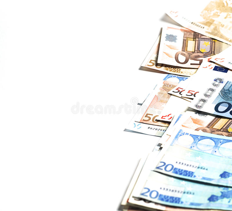 Money. Banknotes of euro on the white surface stock photos