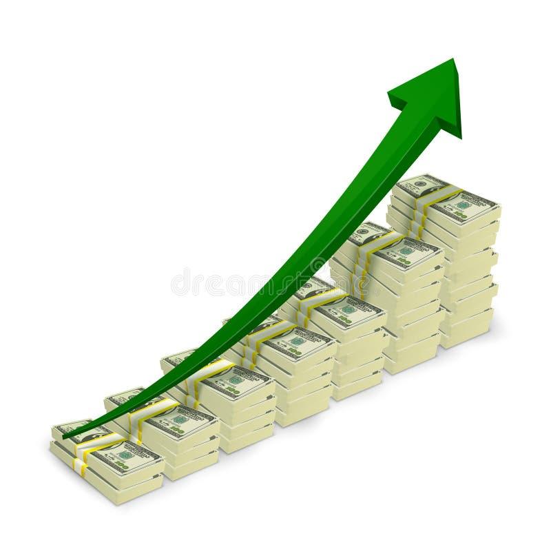 Money banknotes stacks rising graph. With upward arrow vector illustration stock illustration