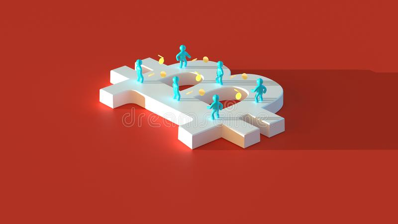 Money or bitcoin - 3D Illustration royalty free illustration