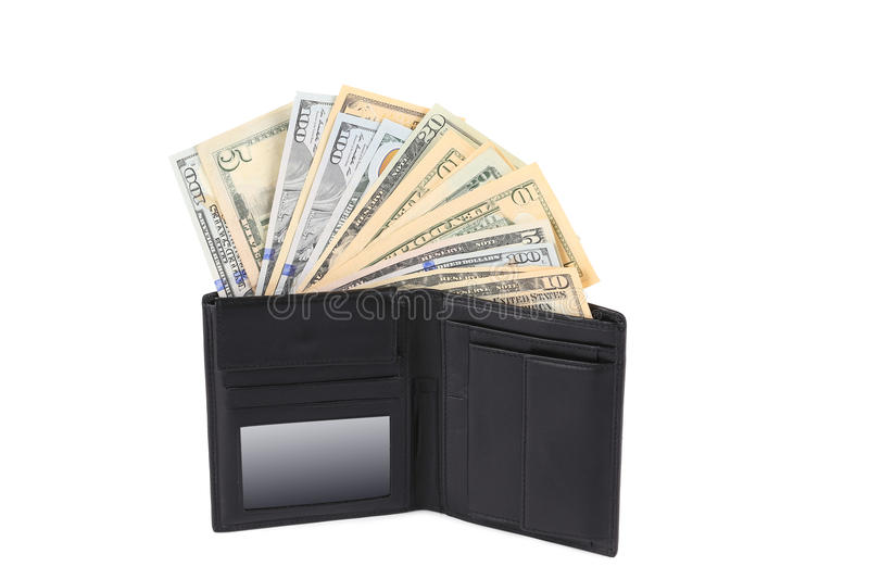 Download Money In Black Leather Wallet. Stock Photo - Image of america, hundred: 41523646