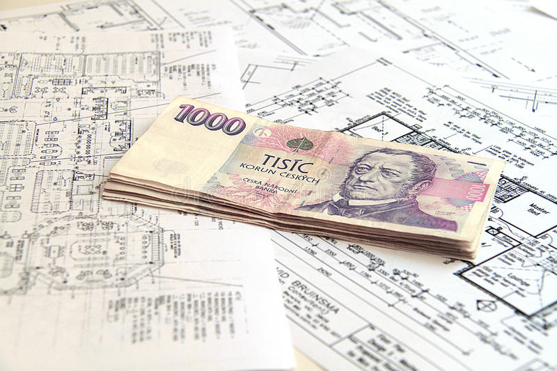 Download Money on blueprints stock photo. Image of banknotes, build - 28358740