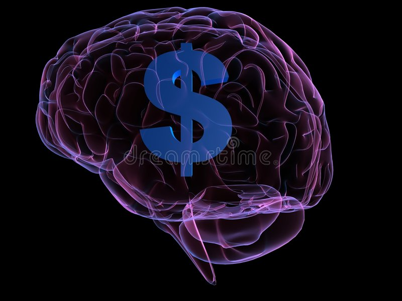 Money brain. 3d rendered anatomy illustration of a human brain with a dollar sign stock illustration