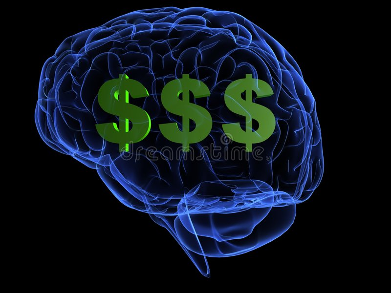 Money brain. 3d rendered anatomy illustration of a human brain with dollar signs vector illustration