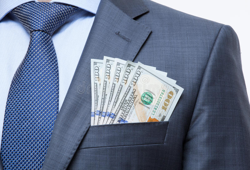 Money in the breast pocket. Closeup shot royalty free stock images