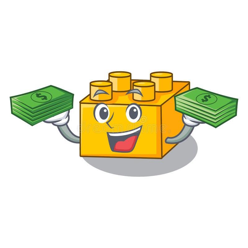 With money building Blocks tyos Isolated on cartoon vector illustration