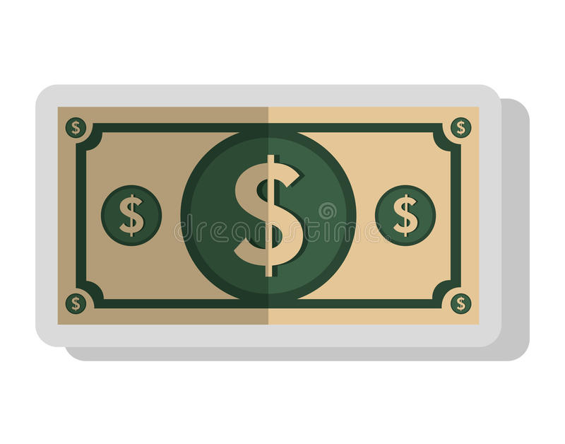 Money and business isolated flat icon. Money billet isolated flat icon, vector illustration graphic design stock illustration