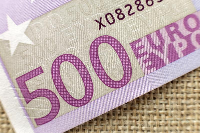 Money, busyness and finances concept. Detail part of five hundred banknote euro national currency bill. Symbol of wealth and stock photo