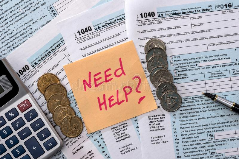 Money calculation Form 1040 tax. Return stock images
