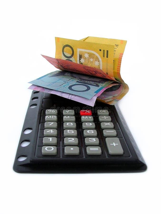 Money on calculator. Australian money on calculator royalty free stock photos