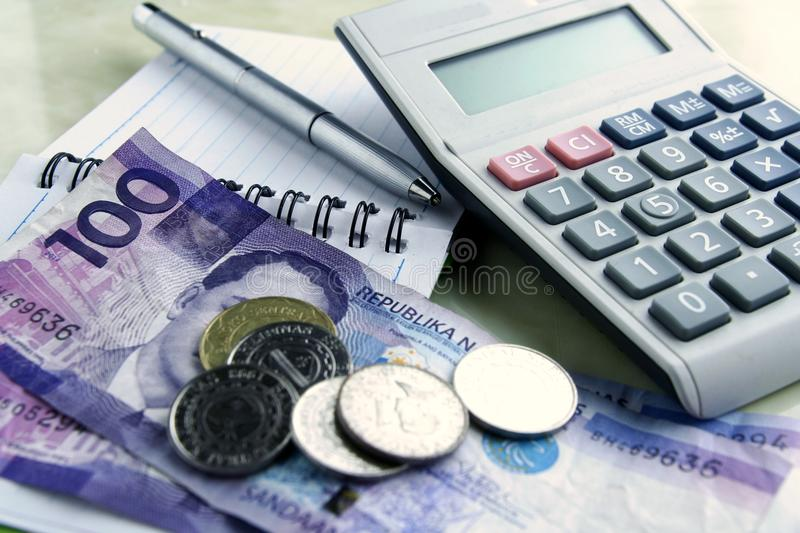 Download Money, Calculator, Notebook And Pen Stock Image - Image: 42140757