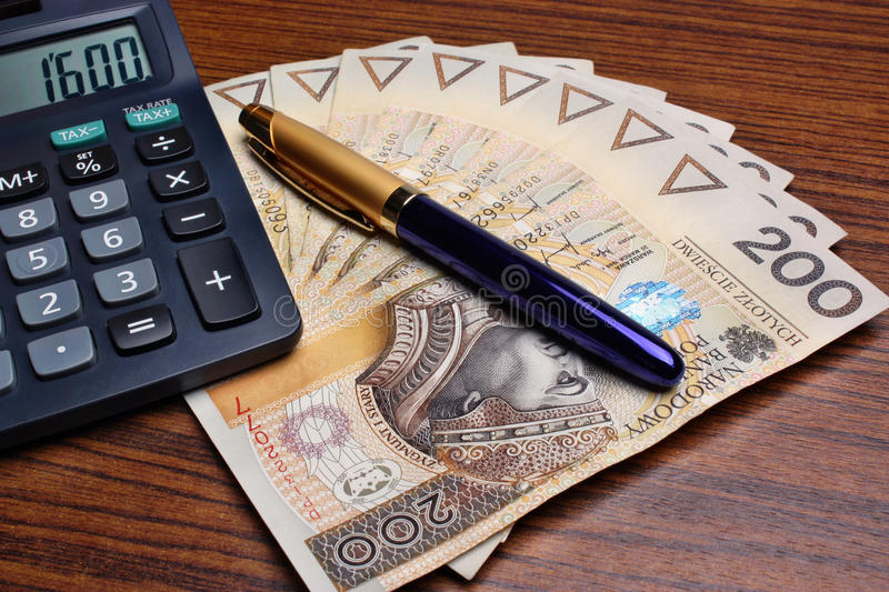 Download Money Calculator Pen On The Table Stock Photo - Image: 31548442