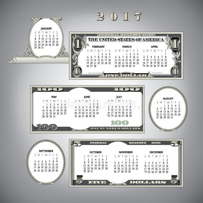 2017 money calendar stock illustration
