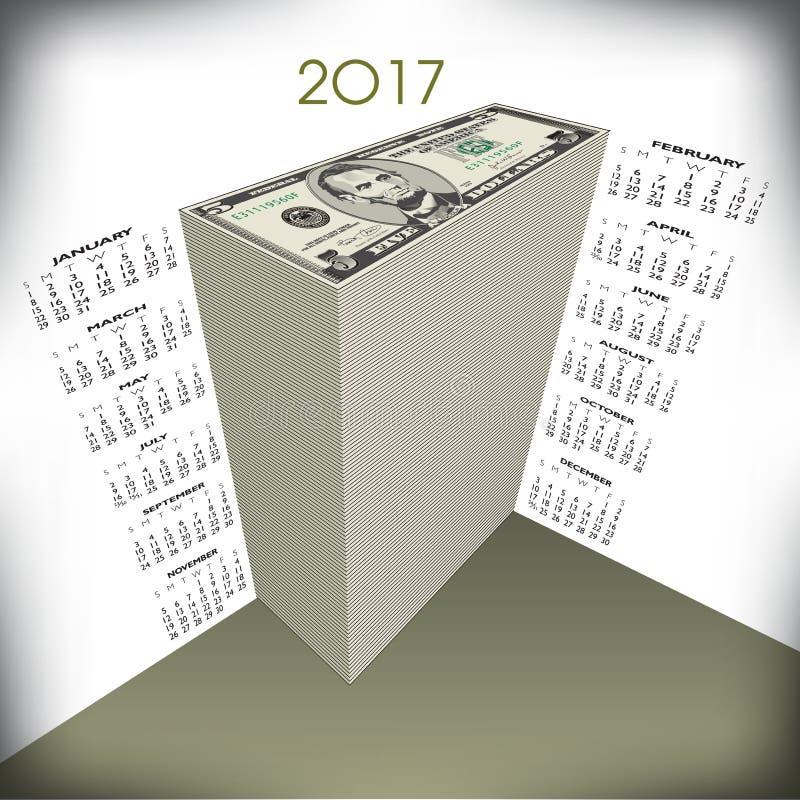 2017 money calendar vector illustration
