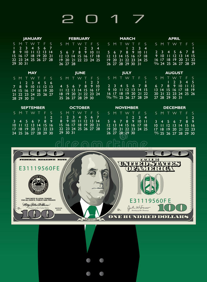 2017 money calendar royalty free illustration