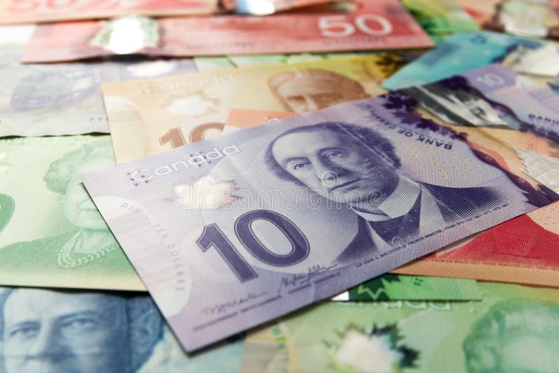 Money from Canada: Canadian Dollars. Bills spread and variation of amounts stock photos