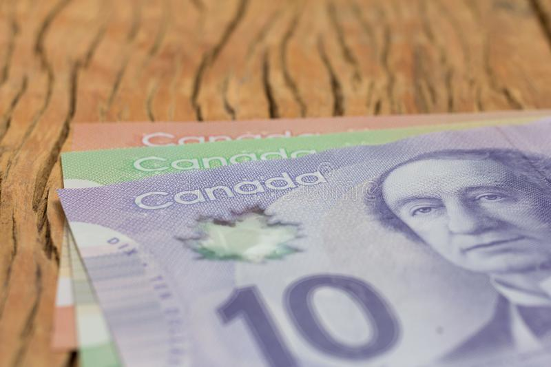 Money from Canada: Canadian Dollars. Close up of cash bills on r stock images