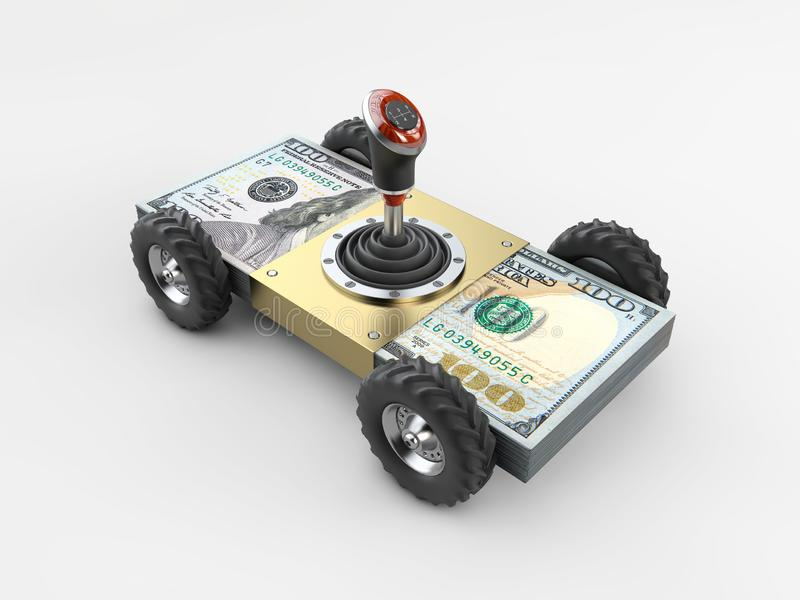 Money Car and Gearshift on stack of money isolated on gray background 3d illustration vector illustration