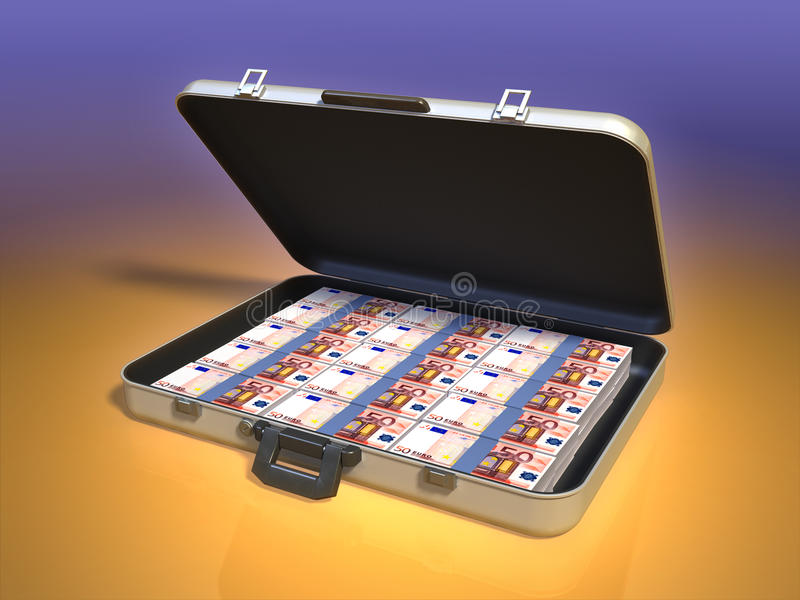 Money case. Modern business case full of money. Digital illustration vector illustration