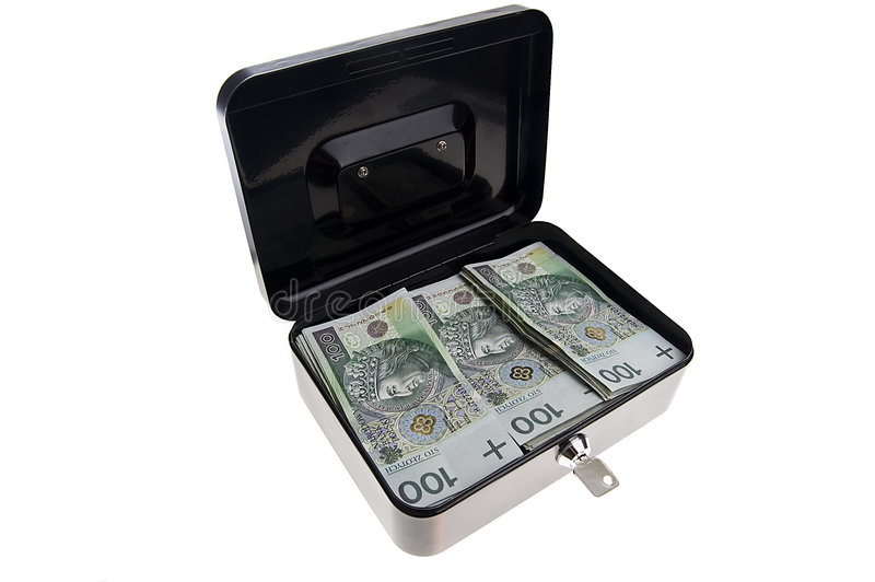 Money in cash box. Polish zlotys in black cash box isolated on white stock photo