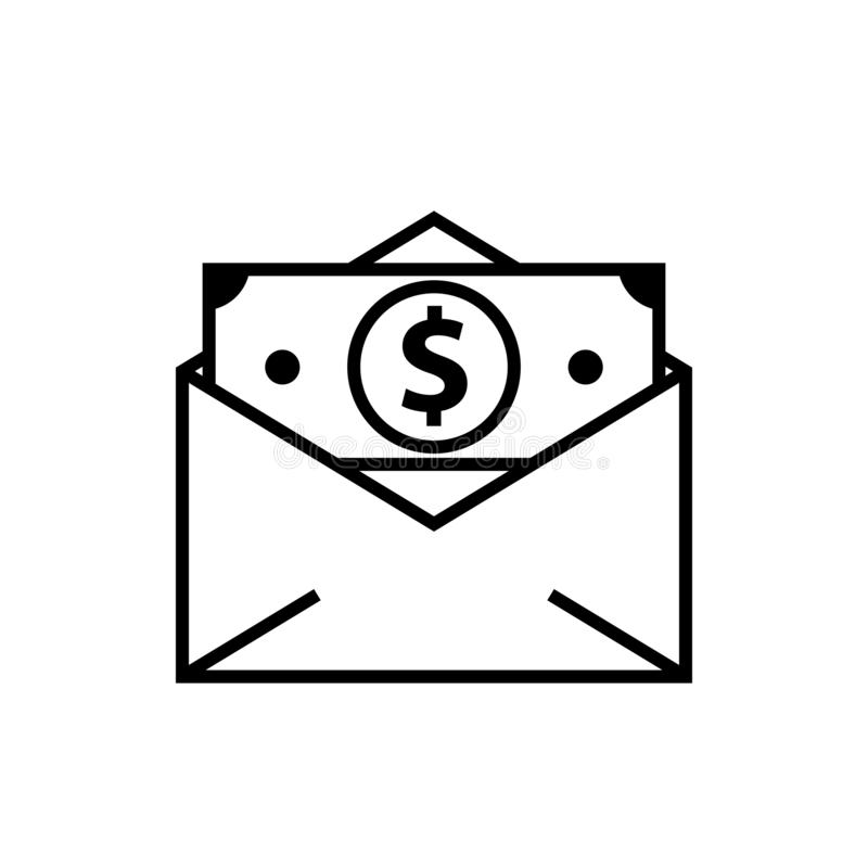 Money cash in envelope royalty free illustration